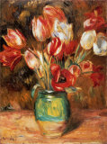 Tulipes dans un vase Reproduction d'art par Pierre-Auguste Renoir