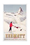 Poster Advertising Holidays in Zermatt  1947