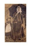 Sien under an Umbrella with a Girl  1882