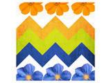 Chevron Pattern with Flowers Reproduction d'art par Irena Orlov