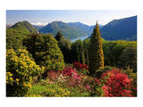 View from the Botanical Garden San Grato towards the Lake and Monte Bre Mountain