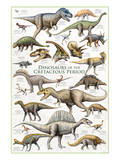 Dinosaurs, Cretaceous Period Reproduction d'art