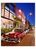 Dodge Classic Car on Collins Avenue  Miami Beach in Miami  Florida  USA