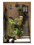 Inner Courtyard in the Old Town of Orvieto with Souvenir Shop  Orvieto  Italy