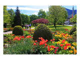 Park in Rottach-Egern on Lake Tegernsee  Upper Bavaria  Bavaria  Germany