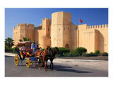 Horse drawn carriage ride in front of the Ribat in Monastir  Tunisia