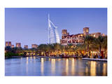 Souk Madinat Jumeirah with Burj Al Arab Hotel on Jumeirah Beach in Dubai