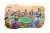 A Game of Table Tennis Being Played in Edwardian Times