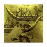 A Lacquered Panel Depicting Fishermen Drawing their Nets