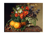 Oranges  Blackberries and a Vase of Flowers on a Ledge  1834
