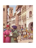 A Typical Street Scene in Florence in the Early 15th Century