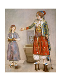 A Woman in Turkish Costume in a Hamam Instructing Her Servant