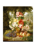 A Vase of Summer Flowers and Fruit on a Ledge in a Landscape  1867