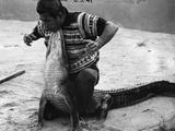 Bobby Tiger Wrestles an Alligator at Tiger's Indian Village  1973