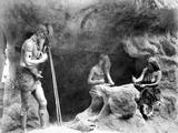 Stone Age People Making Flint Instruments  Paris Exhibition  1889