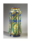 Vase with Fauvisme Style Plants and Cobalt Blue Birds Decoration  1907