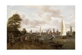 A Panoramic View of Amsterdam with a Barge and Smallships on the Buiten-Amstel