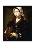Portrait of a Lady  Three-Quarter-Length  Wearing Dark Costume  Holding a Cat