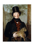 Portrait of Edward Cross  Half-Length  in a Black Coat and Red-Check Waistcoat Holding a Lion Cub
