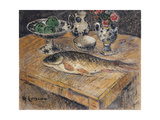 Still Life with Fish  Flowers and Apples; Nature Morte Aux Poisson  Fleurs Et Pommes