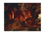 The Temptation of St Anthony  Detail Showing the City in Flames and Demons