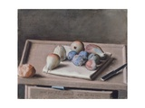 Still Life with Pears  Figs  Prunes  Bread Roll and Knife on Table  1782