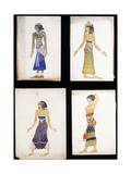 Egyptian Costume Designs for a Dancer  a Musician  Ta-Or  and Cleopatra's Sister