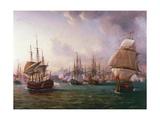 Naval Battle of Port Praya Between British and French Fleets Off Island of Santiago  Cape Verde