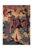 Two Women in a Flower Garden  by Utagawa Kunisada