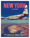 New York USA by Clipper Pan American Airways - Boeing 377 Giclée