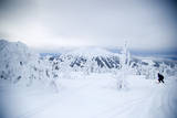 A Man Backcountry Skiing on Mt Tumalo  Oregon Cascades