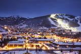 Winter Cityscape of Park City Mountain Resort and Deer Valley Resort  Utah
