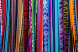 Cloths  Blankets  Scarves  and Hammocks Hang on Display at the Otavalo Market  in Otavalo  Ecuador