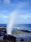 USA  Hawaii  Kauai a Blowhole Spouts Seawater
