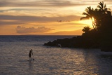 Stand-Up Paddler at Sunset on Maui  Hawaii