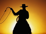 Silhouette of Cowboy on Horse Holding Rope
