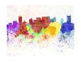 Nashville Skyline in Watercolor Background Reproduction d'art par Paulrommer