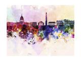 Washington Dc Skyline in Watercolor Background Reproduction d'art par Paulrommer