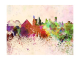 Memphis Skyline in Watercolor Background