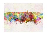 Madison Skyline in Watercolor Background Reproduction d'art par Paulrommer