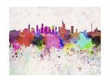 Frankfurt Skyline in Watercolor Background Reproduction d'art par Paulrommer