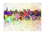 Tel Aviv Skyline in Watercolor Background