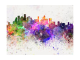 Houston Skyline in Watercolor Background