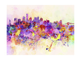 New York Skyline in Watercolor Background