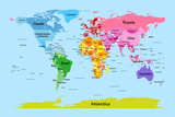 World Map with Big Text for Kids