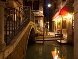 Narrow Canal in Venice at Night  Italy  Ponte Dei Ferai
