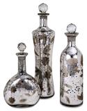 Madison Etched Mercury Glass Lidded Bottles - Set of 3