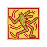 Untitled, 1982 (red dog on yellow) Giclée par Keith Haring