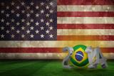 Brazil 2014 against Usa Flag in Grunge Effect