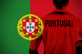Portugal Football Player Holding Ball against Portugal National Flag